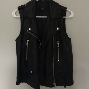 Forever 21 Fake Leather Zip Up Vest